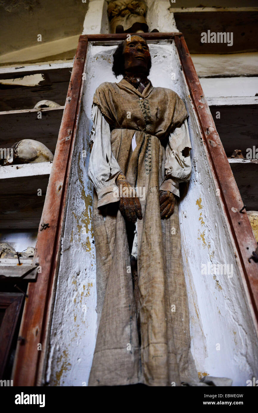 Mummified corpses in the Capuchin Catacombs of Palermo, Italy. - Stock Image