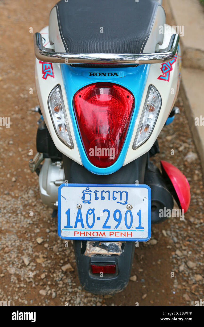 Motorbike with registration plate from  Phnom Penh, Siem Reap, Cambodia. - Stock Image