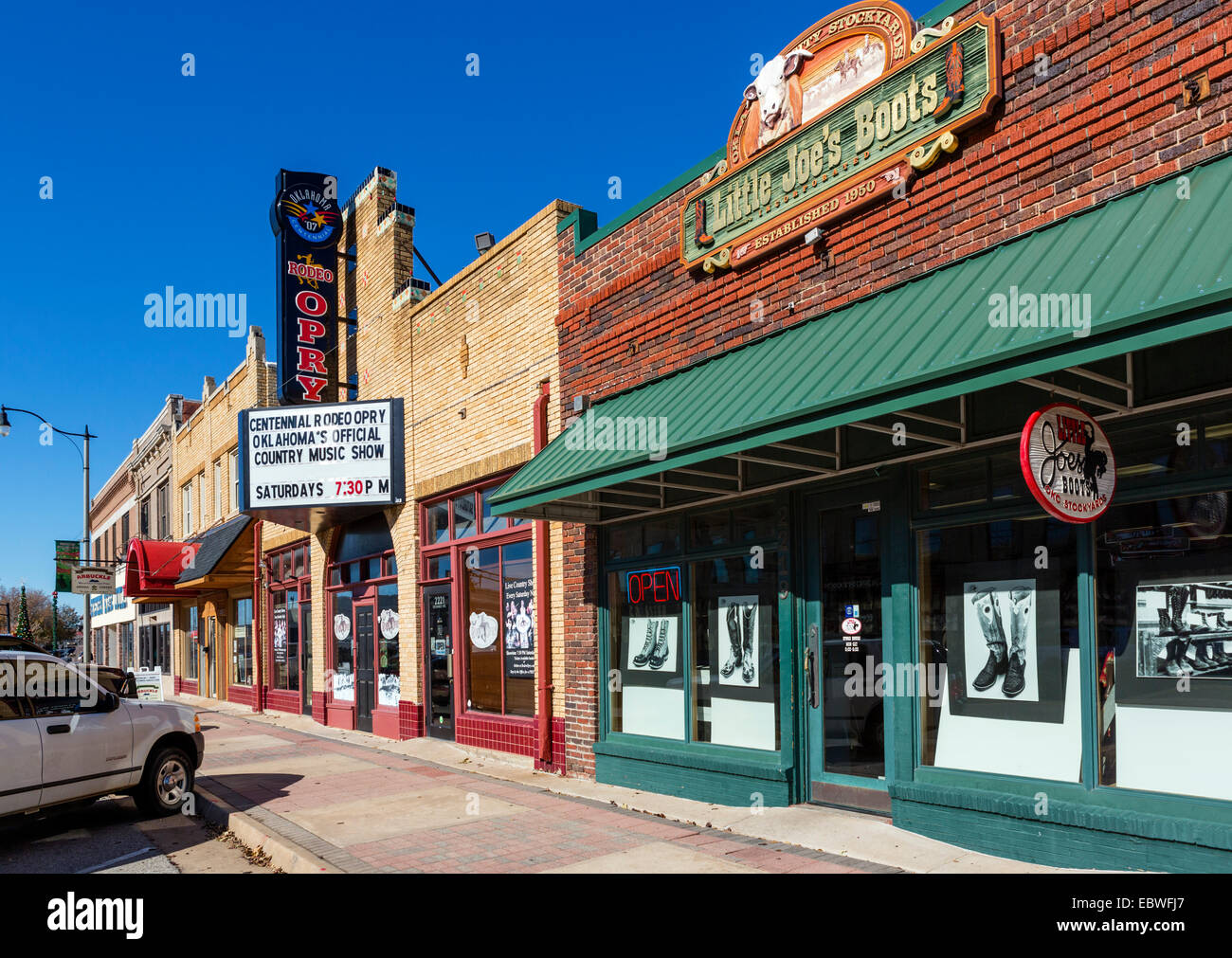 Stores and bars on Exchange Avenue in the historic Stockyard district, Oklahoma City, OK, USA - Stock Image