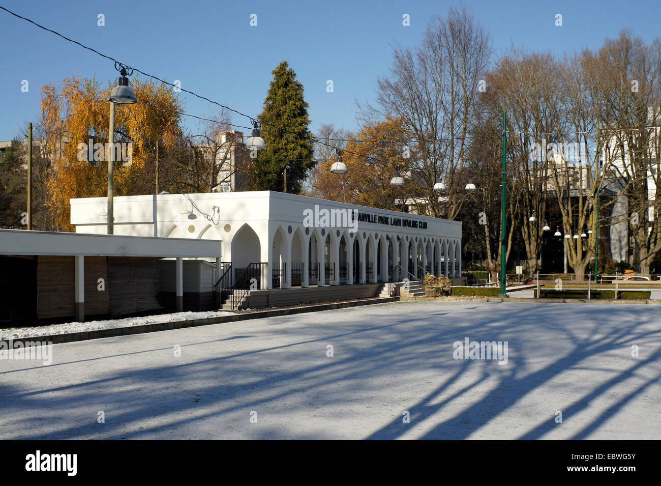Granville Park Lawn Bowling Club building on a snowy winter day, Vancouver, British Columbia, Canada - Stock Image