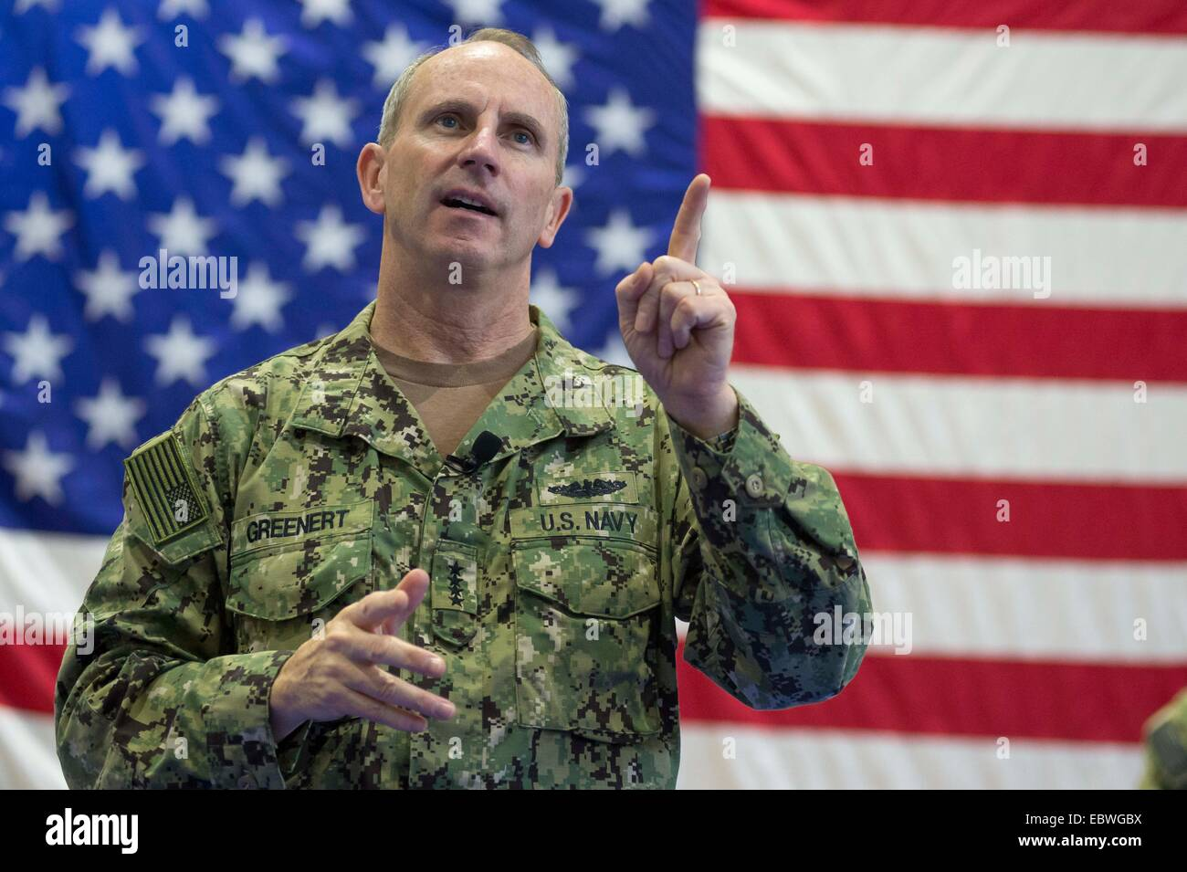 US Chief of Naval Operations Adm. Jonathan Greenert during an all-hands call with service members and civilians - Stock Image