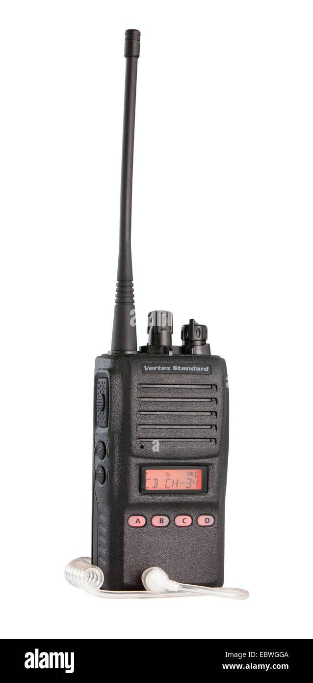Black walkie talkie for communication isolated on white background Stock Photo