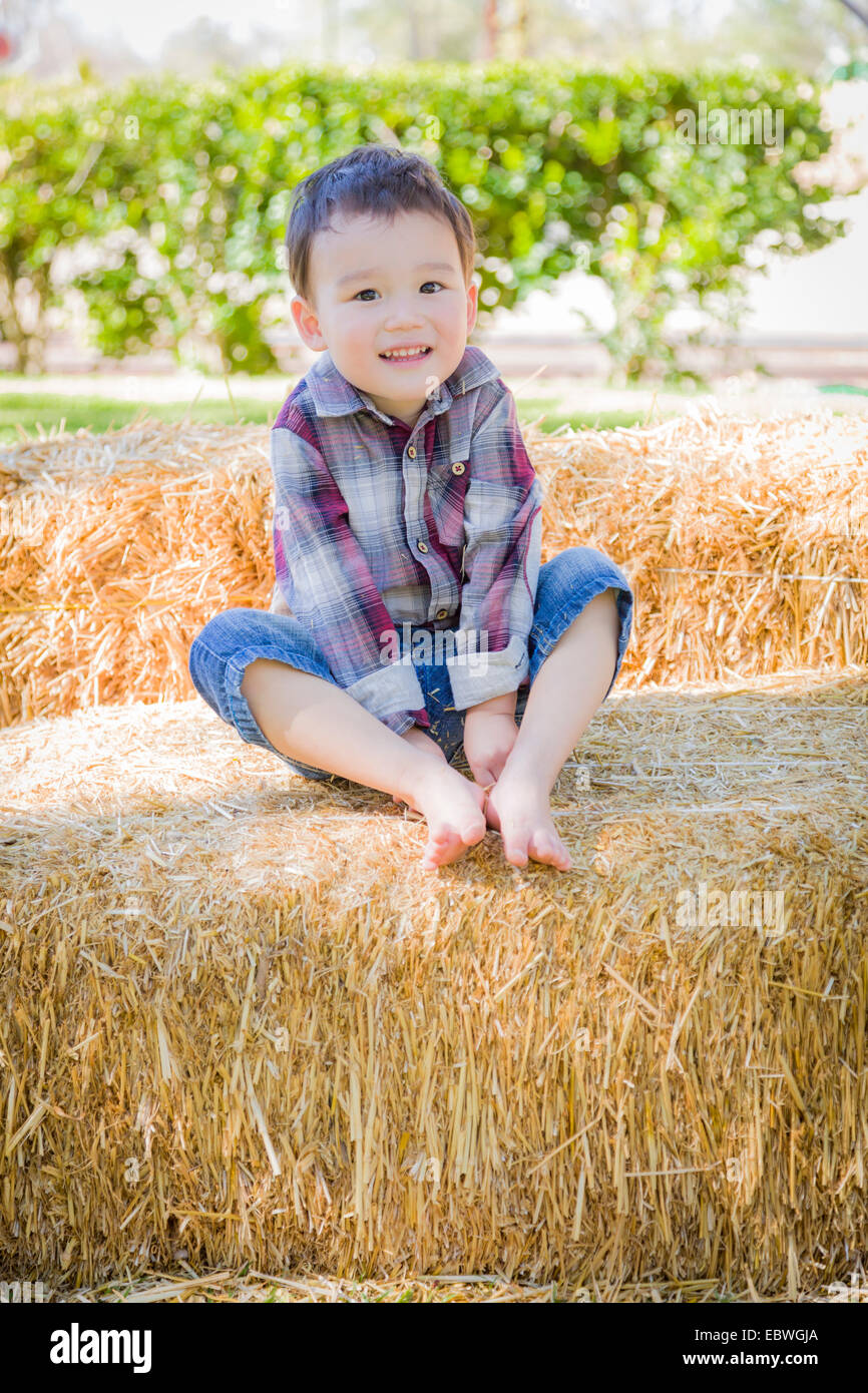 Cute Young Mixed Race Boy Having Fun on Hay Bale Outside. - Stock Image