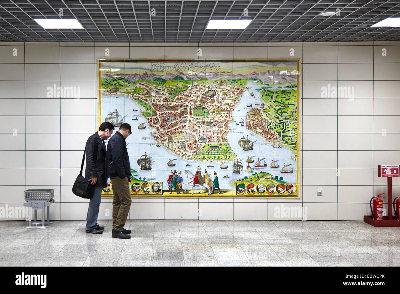 Istanbul metro public rail transport under the Bosphorus strait with map showing city - Stock Image