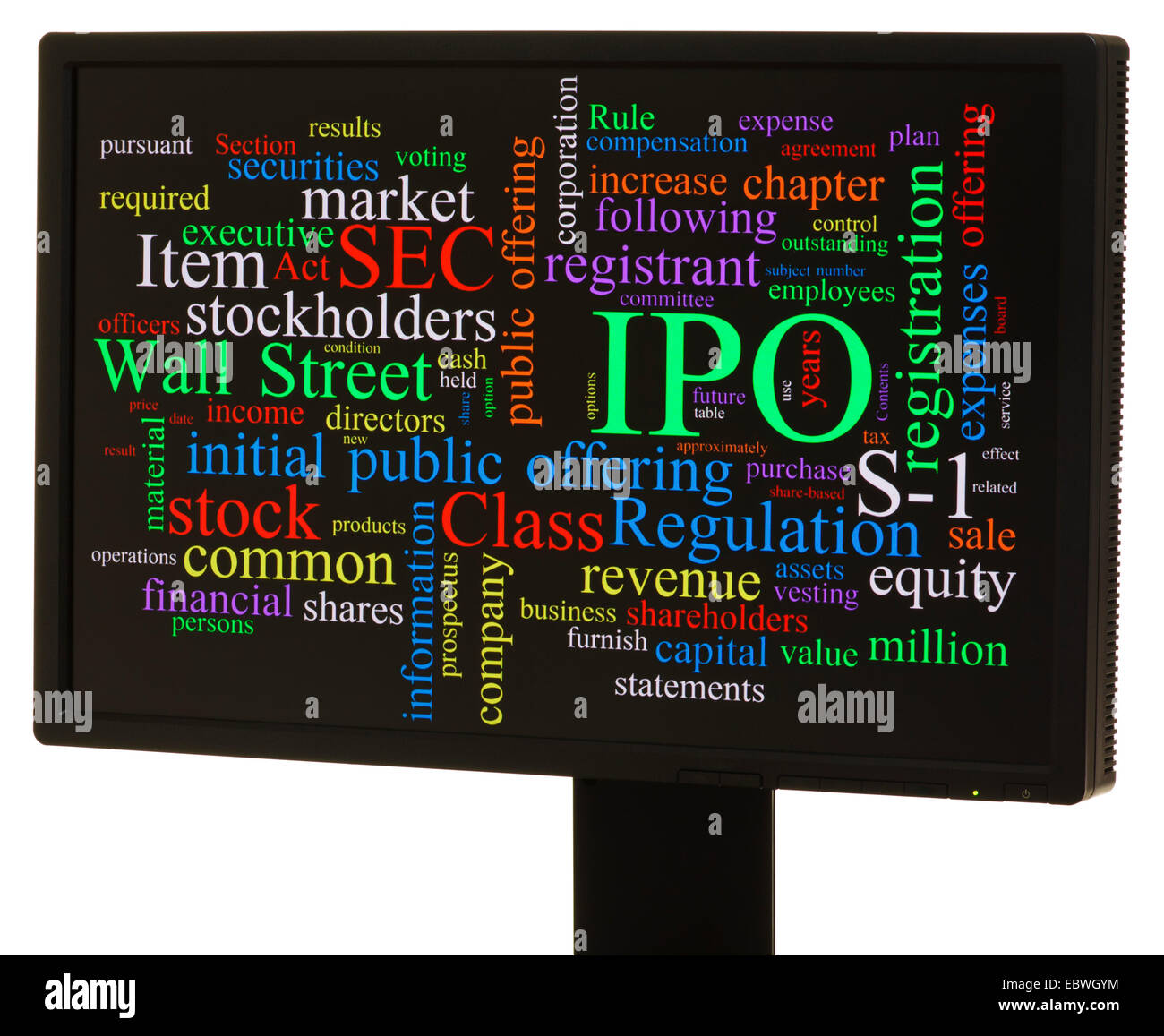 IPO, initial public offering, word cloud - Stock Image