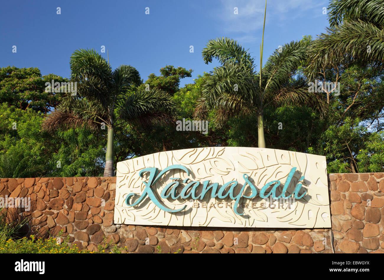 Kaanapali Beach Resort Sign Maui Hawaii Stock Photo
