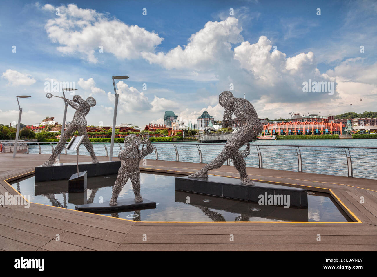 Artwork Reverie - Musical Journey by Victor Tan, on the boardwalk between Singapore Island and Sentosa Island - Stock Image