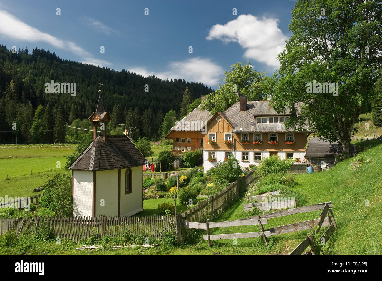 black forest farmhouse with a chapel and a cottage garden feldberg rh alamy com black forest cottage bryson city black forest cottage rocks on the roof