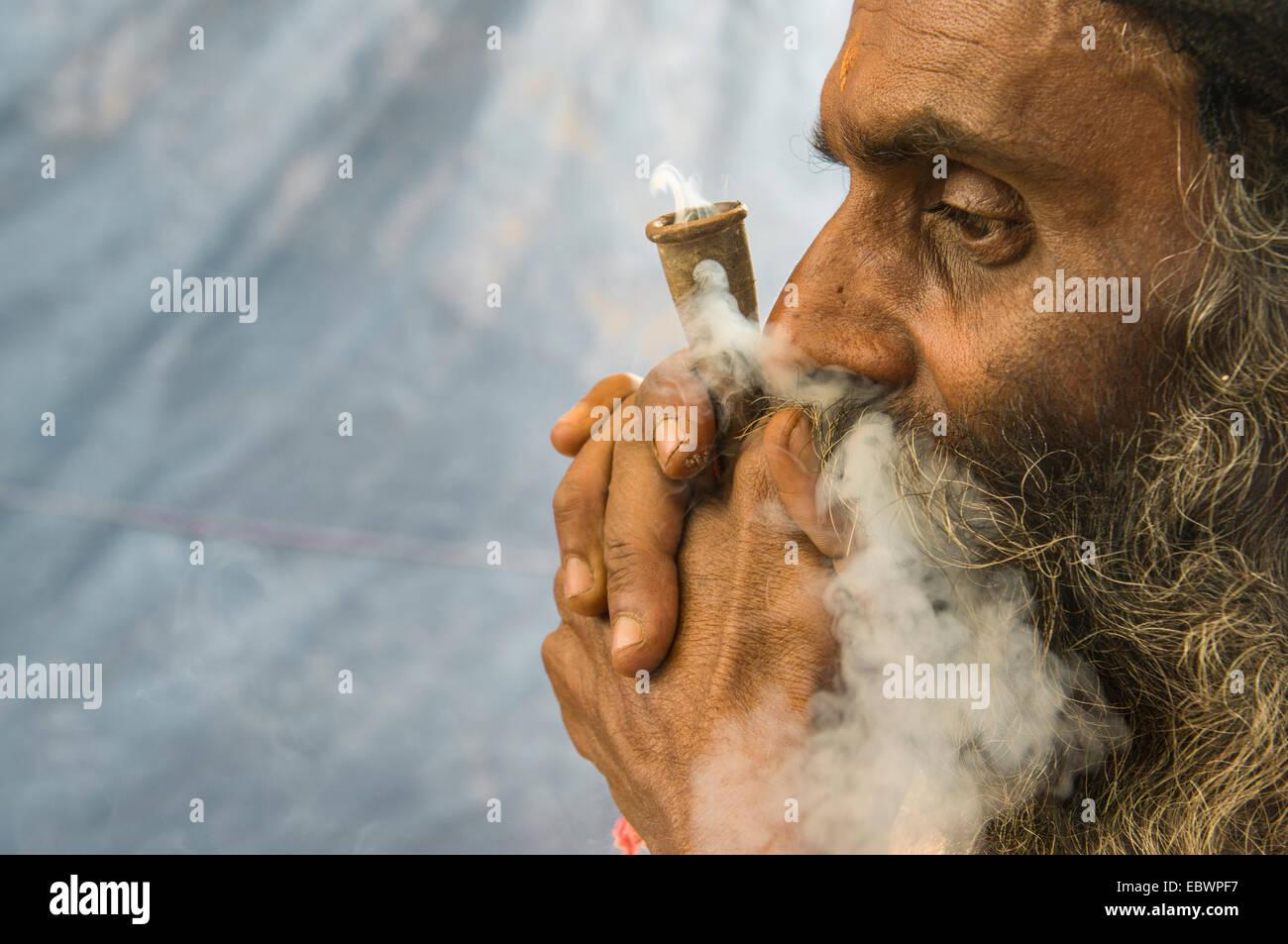 Udaisin Sadhu, holy man, smoking marihuana at the Sangam, the confluence of the rivers Ganges, Yamuna and Saraswati - Stock Image