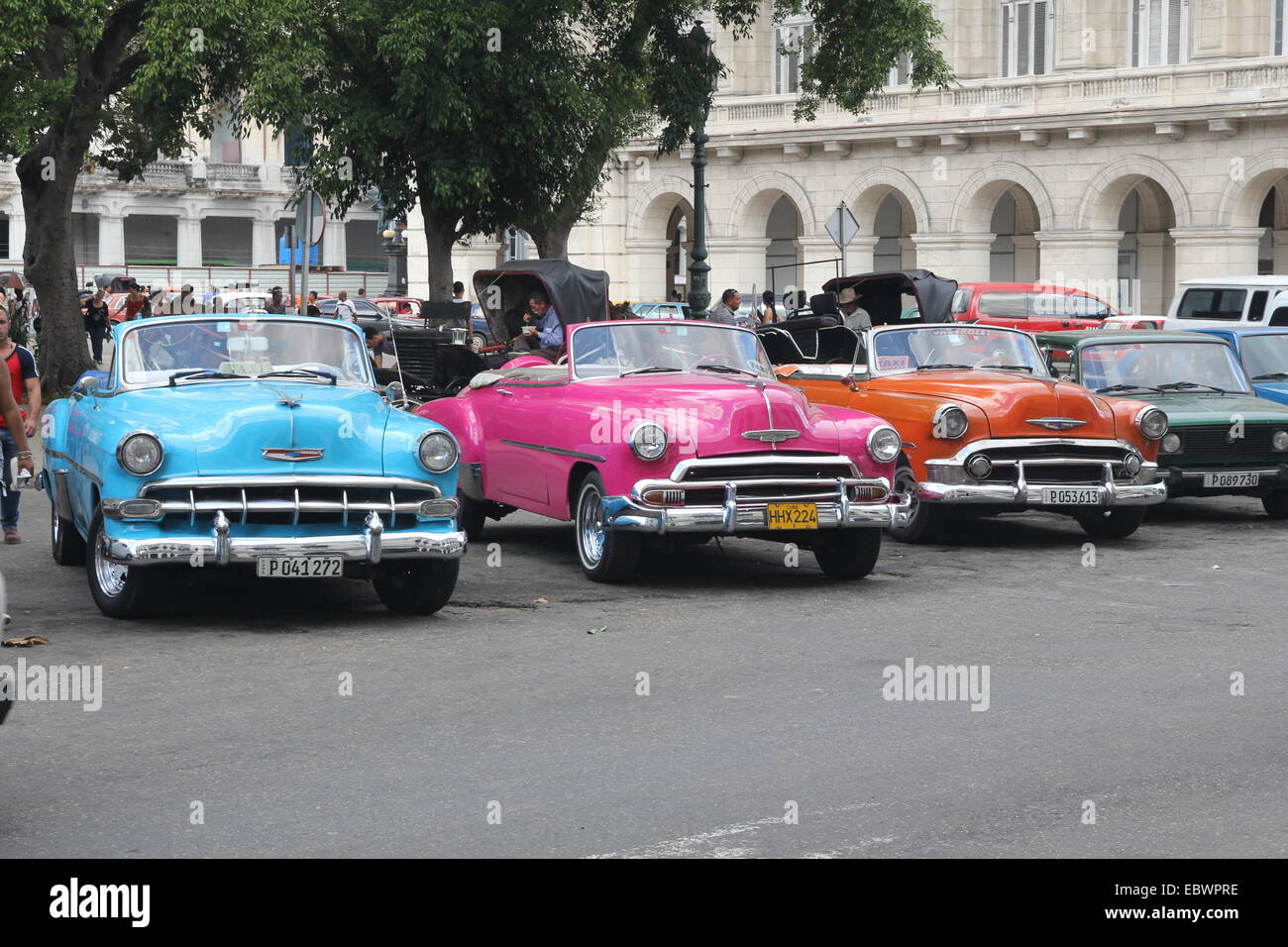 Colourful old cars Havana Cuba - Stock Image