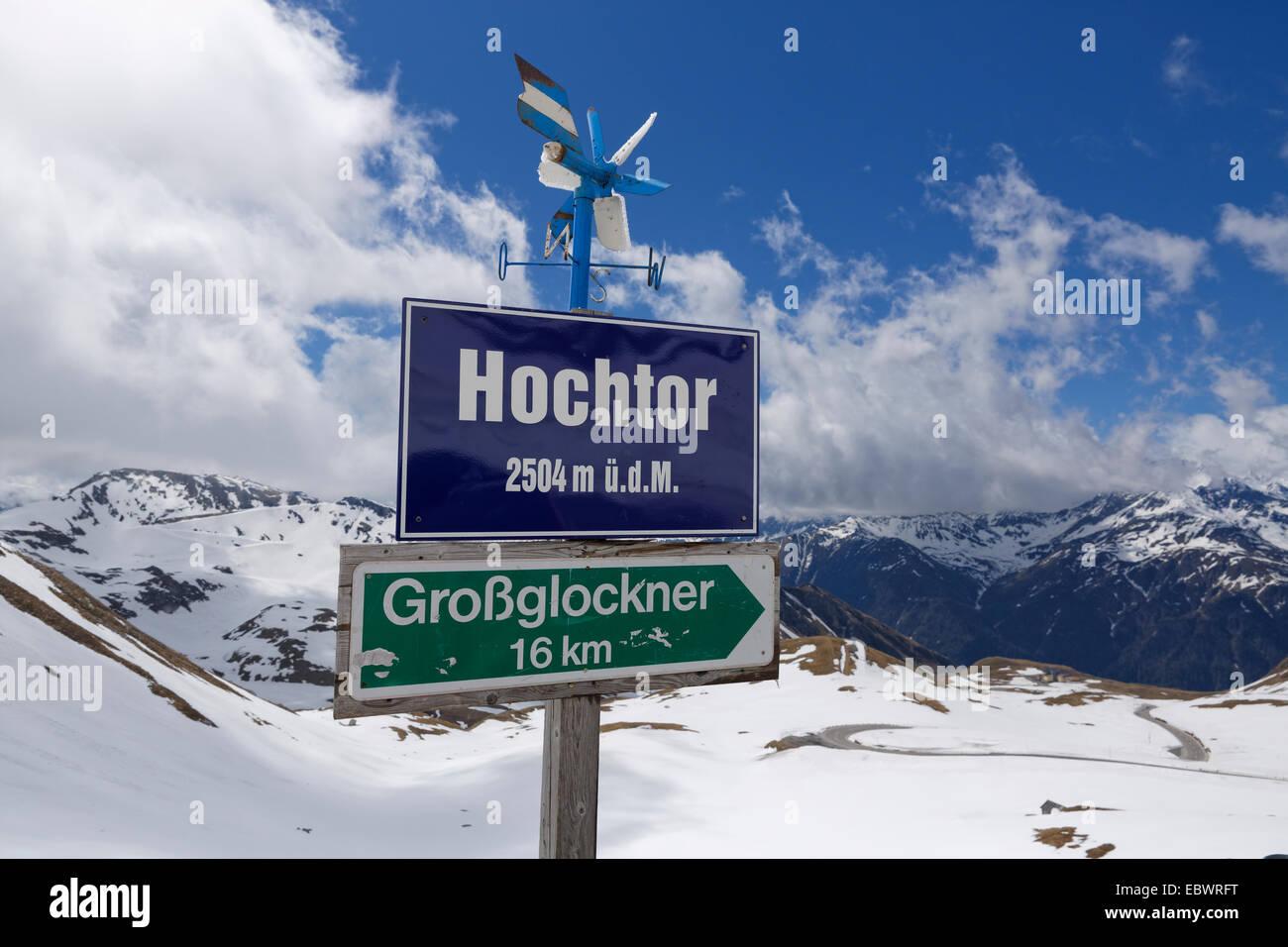 Sign with the elevation of Hochtor Pass on the Grossglockner High Alpine Road, Heiligenblut am Großglockner - Stock Image