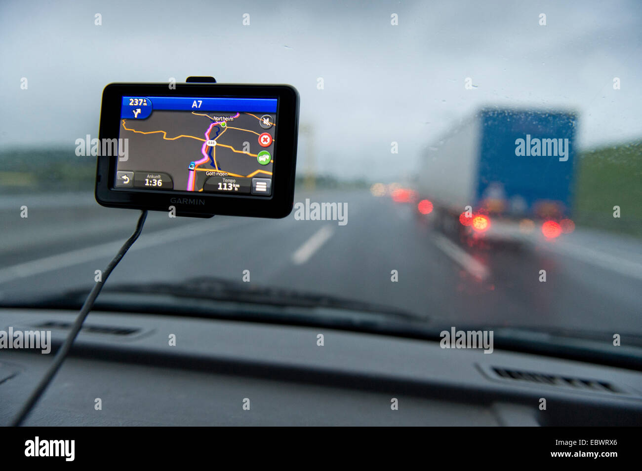 View through the windscreen of a car, satnav device, Germany - Stock Image