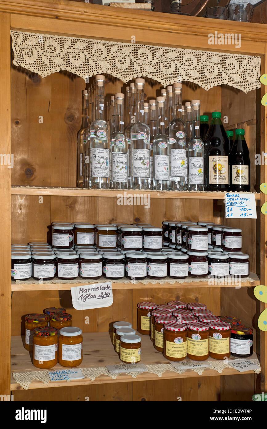 Farm products, farm shop, Kreidl family farm, Schwaz District, Tyrol, Austria - Stock Image