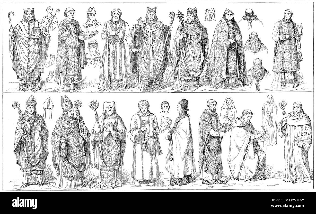 medieval vestments, Ornate im  Mittelalter - Stock Image