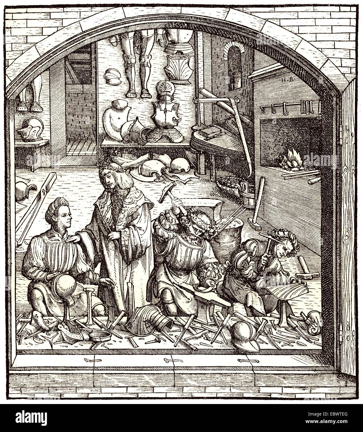 Workshop of a blades smith, c. 1500, Eine Werkstatt der Waffenschmiede um 1500 - Stock Image