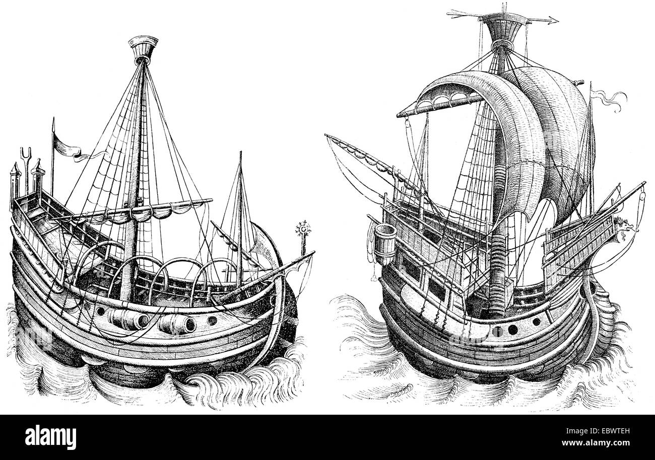 ships of the 15th century, - Stock Image
