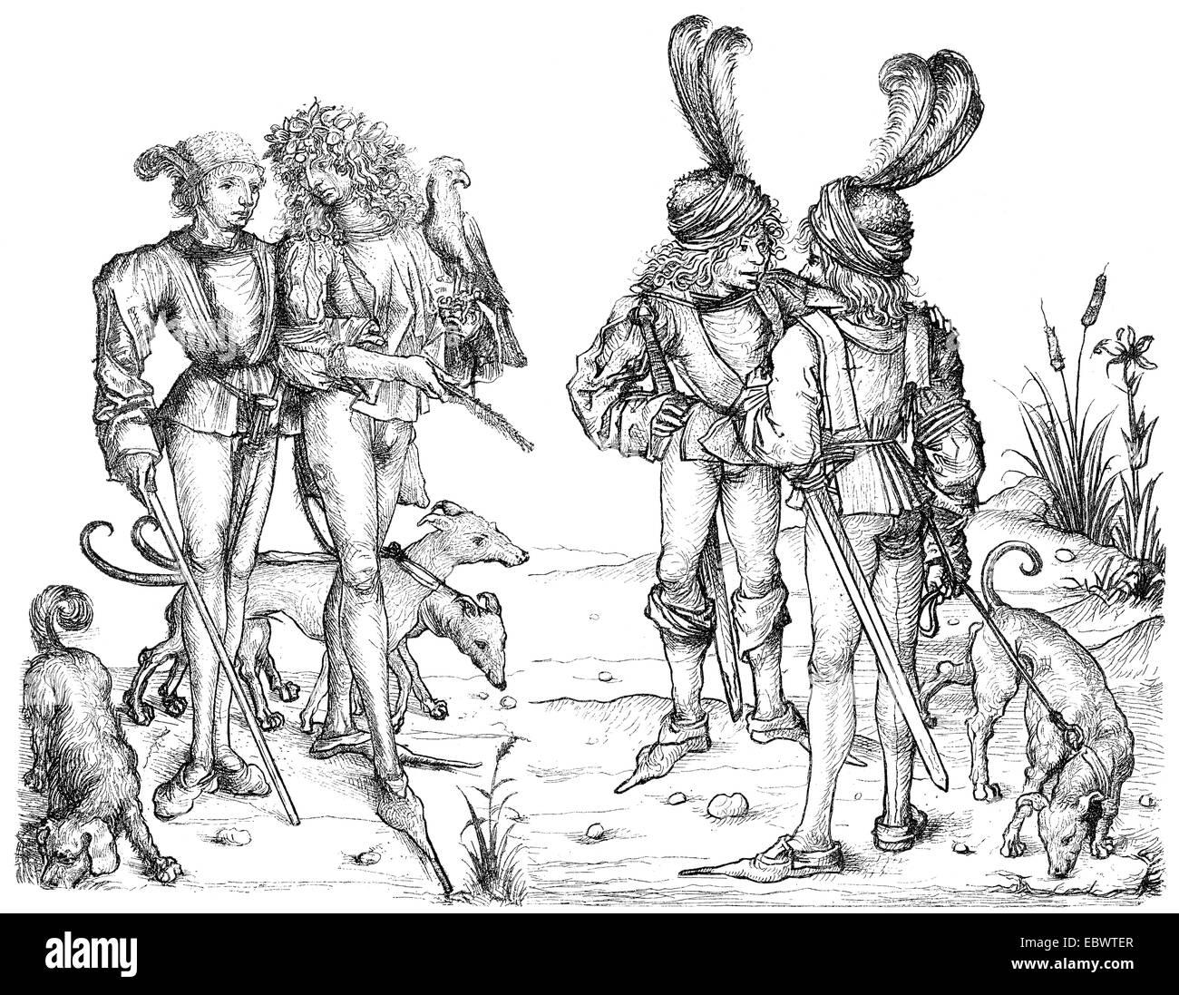 aristocratic costumes, 15th century, Mode von Aristokraten im  15. Jahrhundert - Stock Image