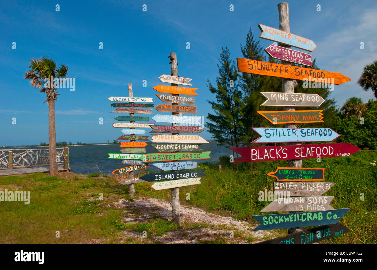 direction signs for all local businesses , USA, Florida, Sebastian - Stock Image