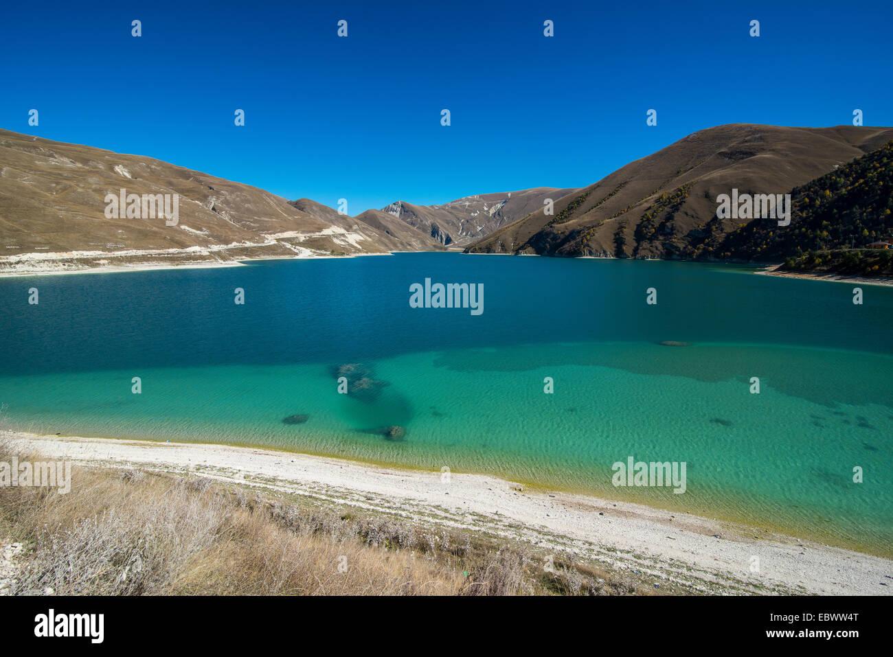 Lake Kezenoyam in the Chechen mountains, Chechnya, Caucasus, Russia - Stock Image