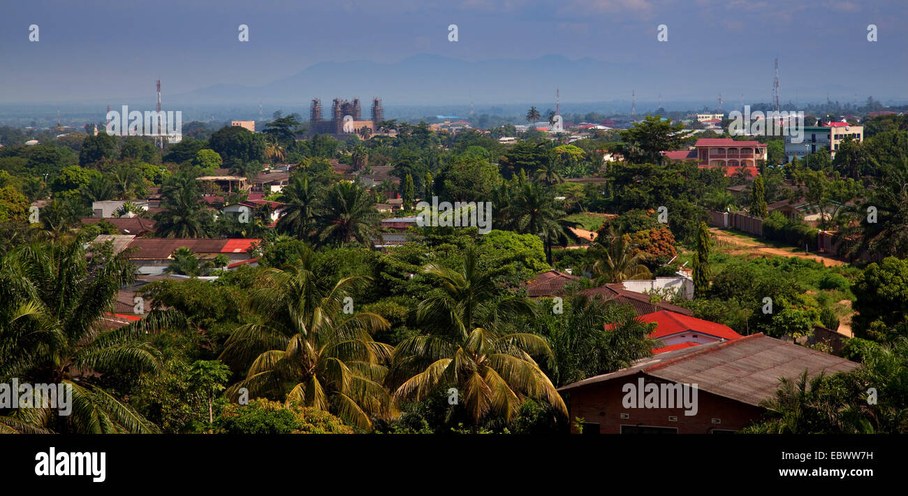 panoramic view on the quarter 'Ngangara' of the capital, in the middle a big mosque under construction, - Stock Image