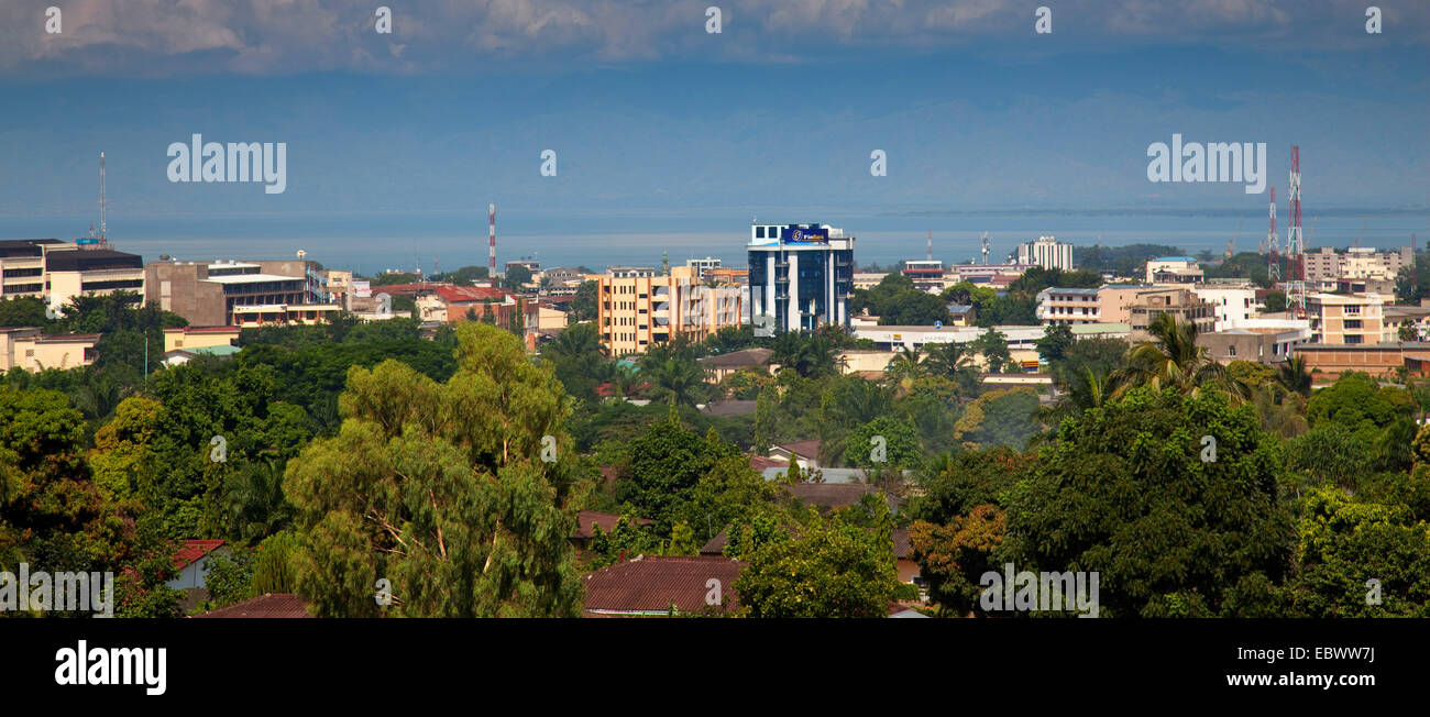 panoramic view on the quarter 'Rohero I' of the capital, in the middle the big 'Banque du Burundi', - Stock Image