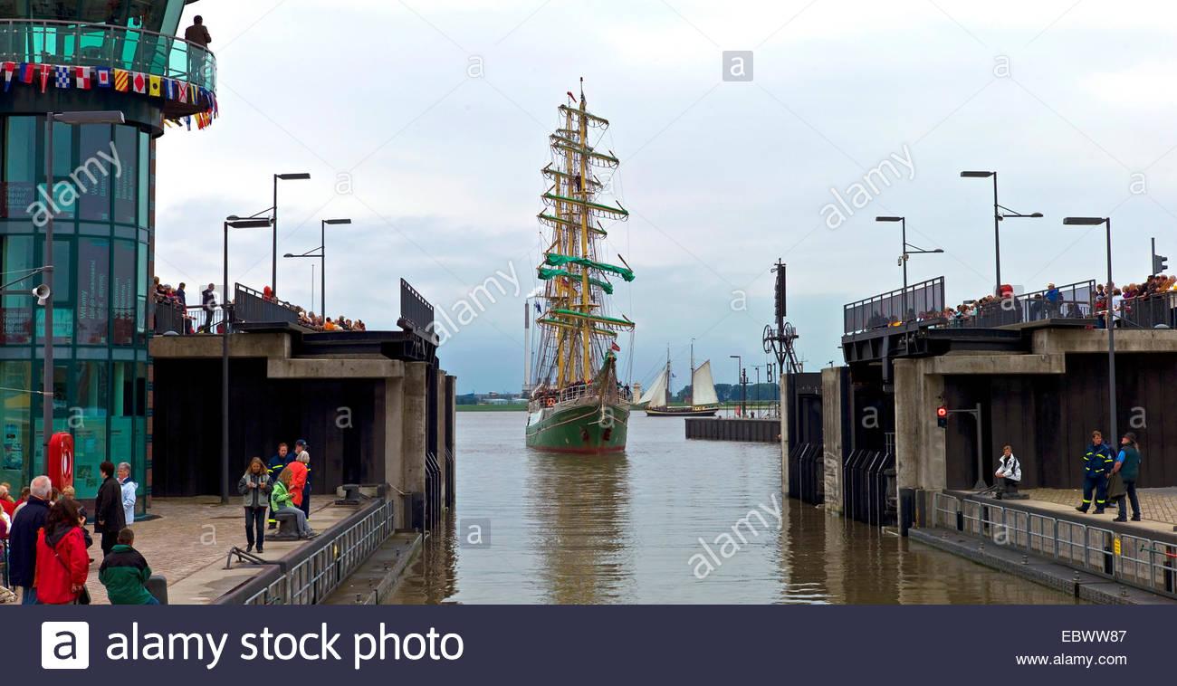 tall ship Alexander von Humboldt in watergate, Germany, Bremen, Bremerhaven - Stock Image