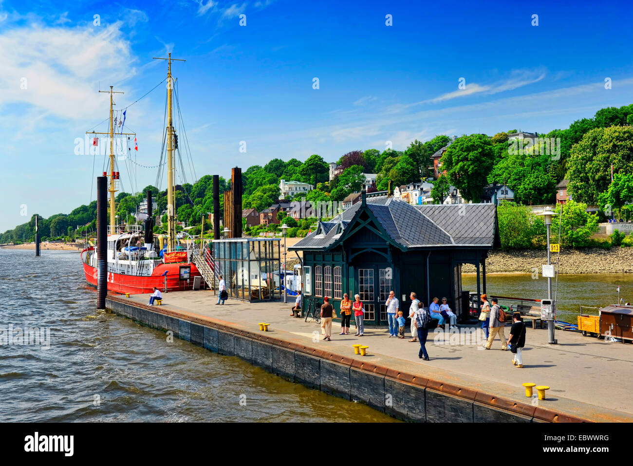 museum harbour Oevelgoenne and riverside of the Elbe in Othmarschen part of Hamburg, Germany, Hamburg - Stock Image