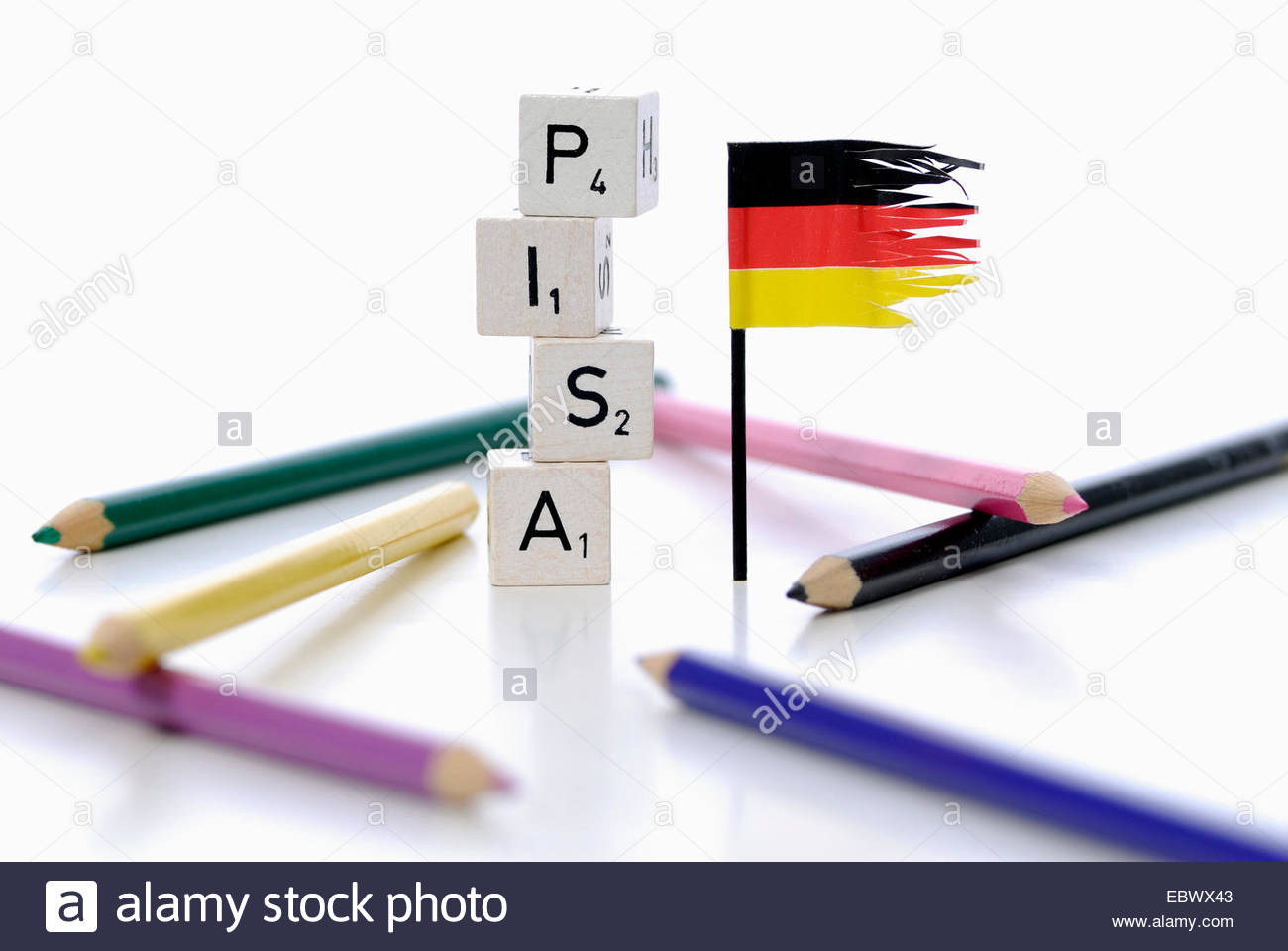 german flag next stack of cubes labeled 'PISA', Programme for International Student Assessment Stock Photo