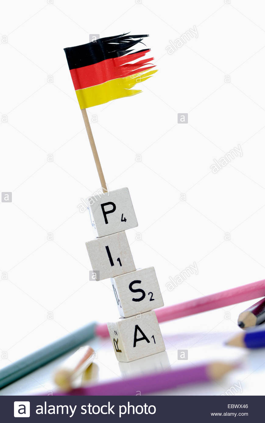german flag on stack of cubes labeled 'PISA', Programme for International Student Assessment Stock Photo