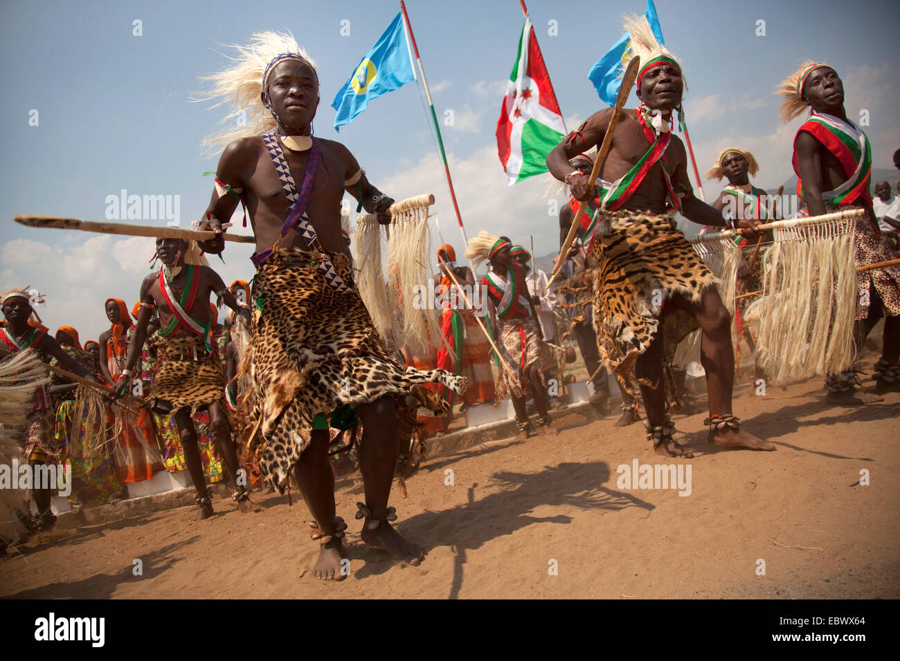 traditional dancers ('Tambourinaires') dancing on the 'Boulevard de l'Ind�pendace' on Independance - Stock Image