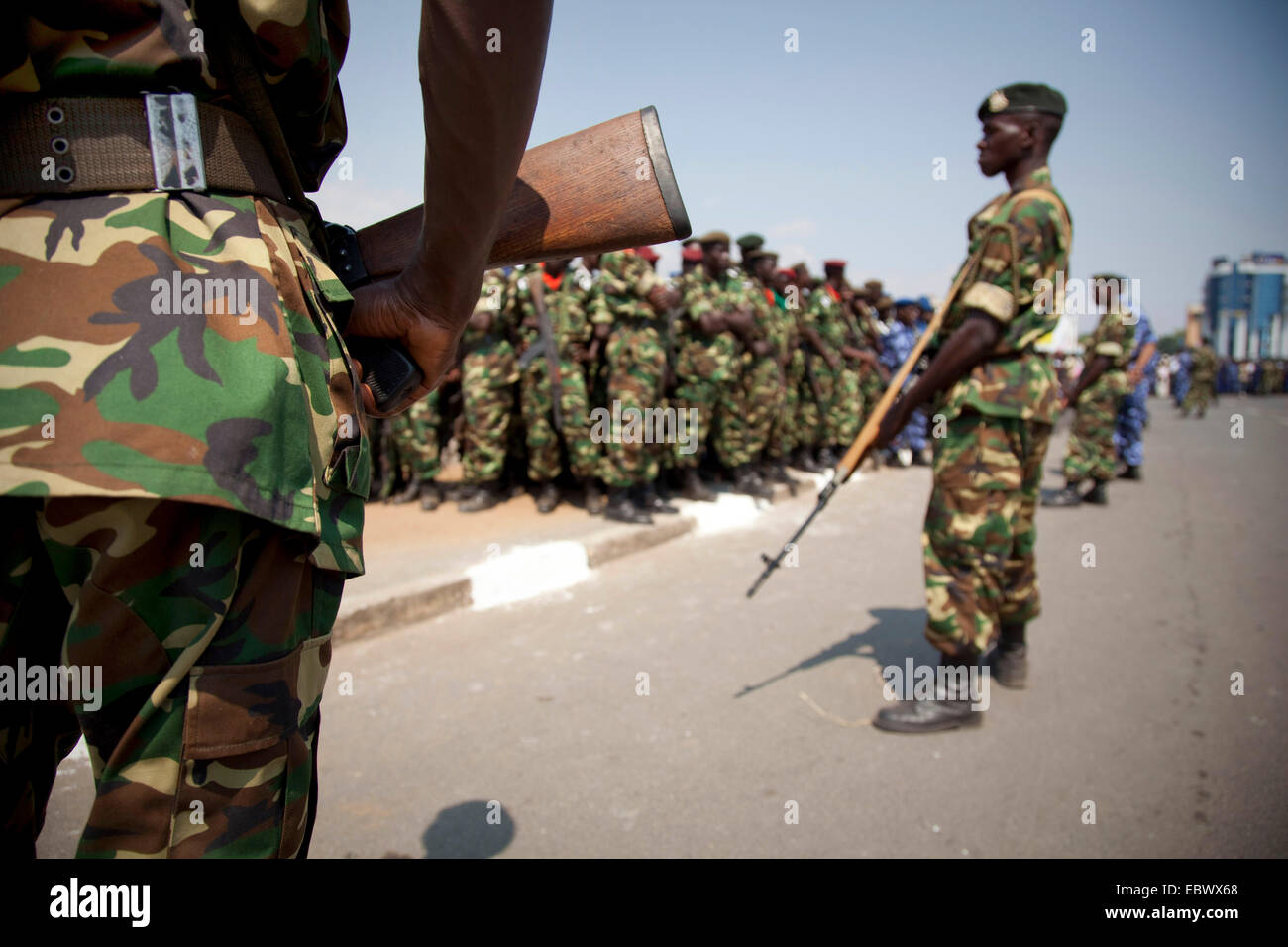 armed soldiers during an event at the Independence Day (Juli 1), Burundi, Bujumbura Marie, Bujumbura - Stock Image