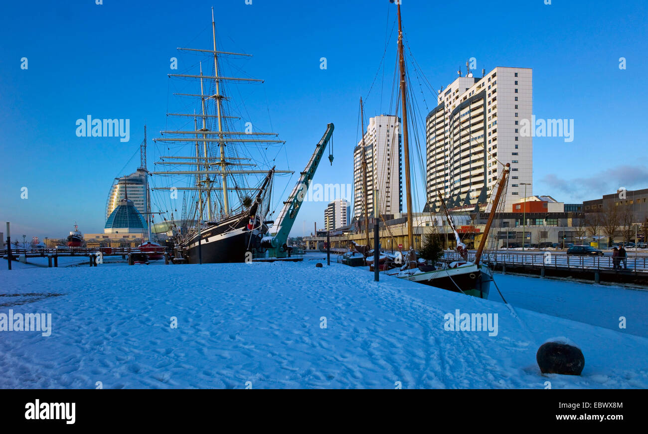 skyline with Columbus Center, German Maritime Museum and Hotel Sail City, Germany, Bremerhaven Stock Photo