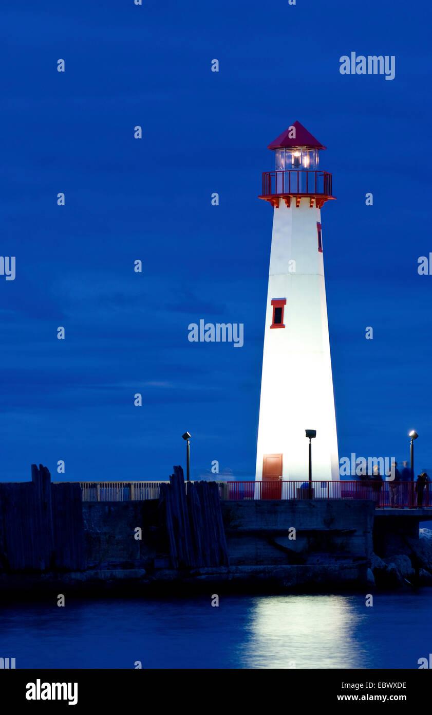 Northern Michigan Lighthouse in St Ignace Michigan on Lake Huron, USA, Michigan - Stock Image