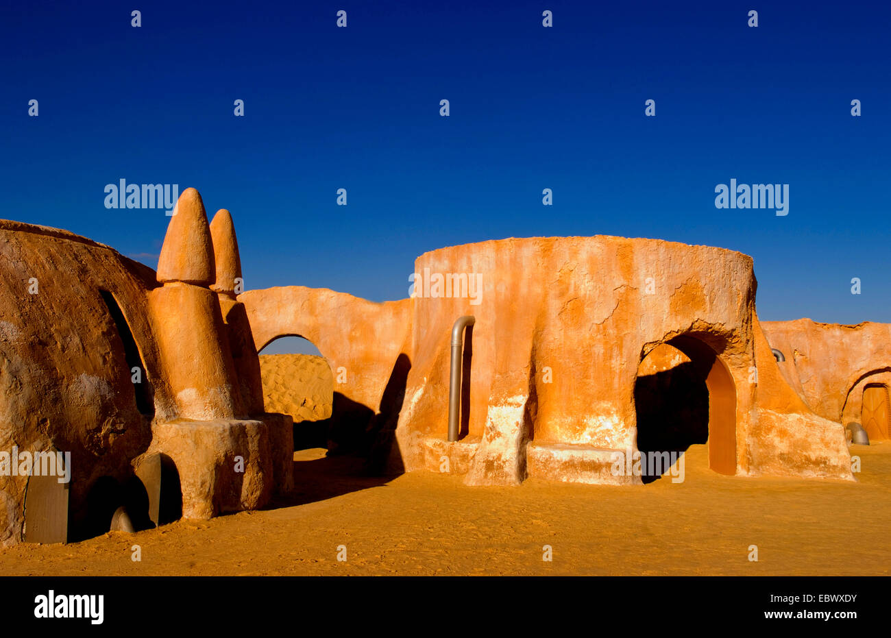 Famous movie set of Star Wars movies in Sahara Desert near Tozeur, Tunisia - Stock Image