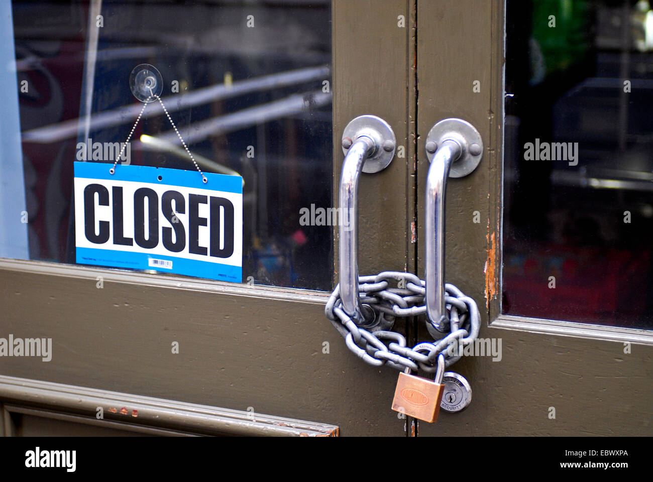 with chains closed door, Australia - Stock Image