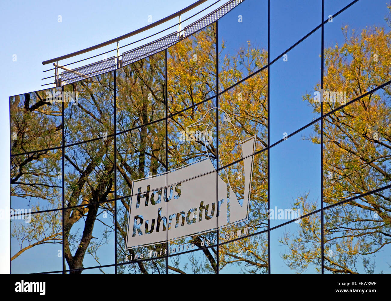 reflections in the glas cladding of House Ruhrnatur in Muelheim/Ruhr, Germany, North Rhine-Westphalia, Ruhr Area, - Stock Image