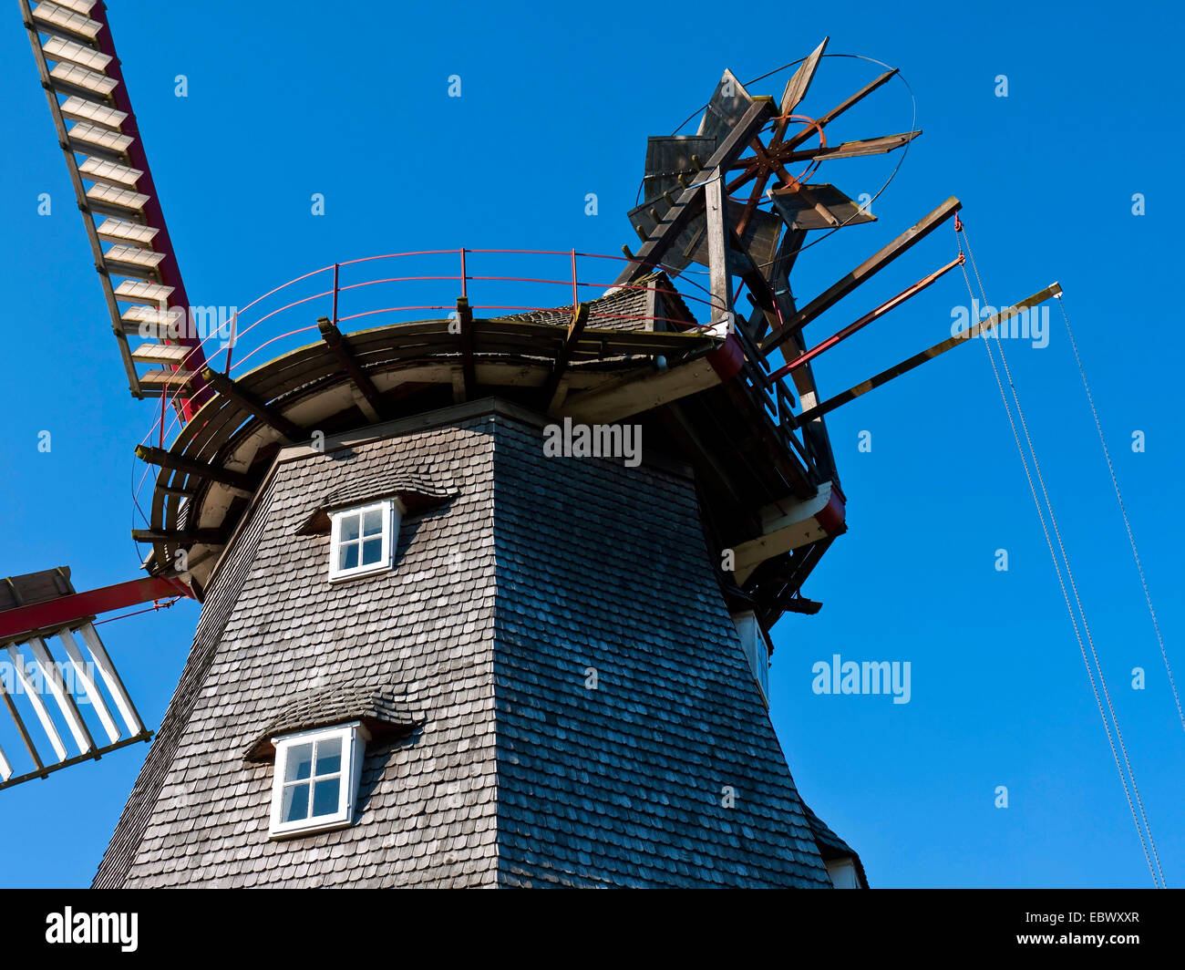 windmill, Germany, Lower Saxony, Landkreis Osterholz , Luebberstedt - Stock Image