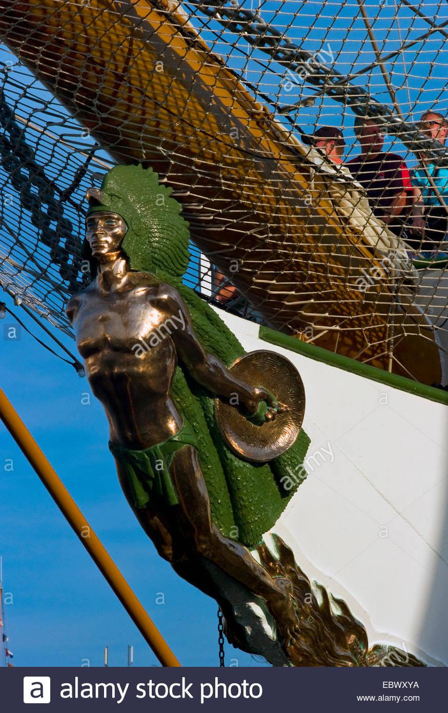 indian as figurehead of training ship 'Cuauhtemoc' - Stock Image