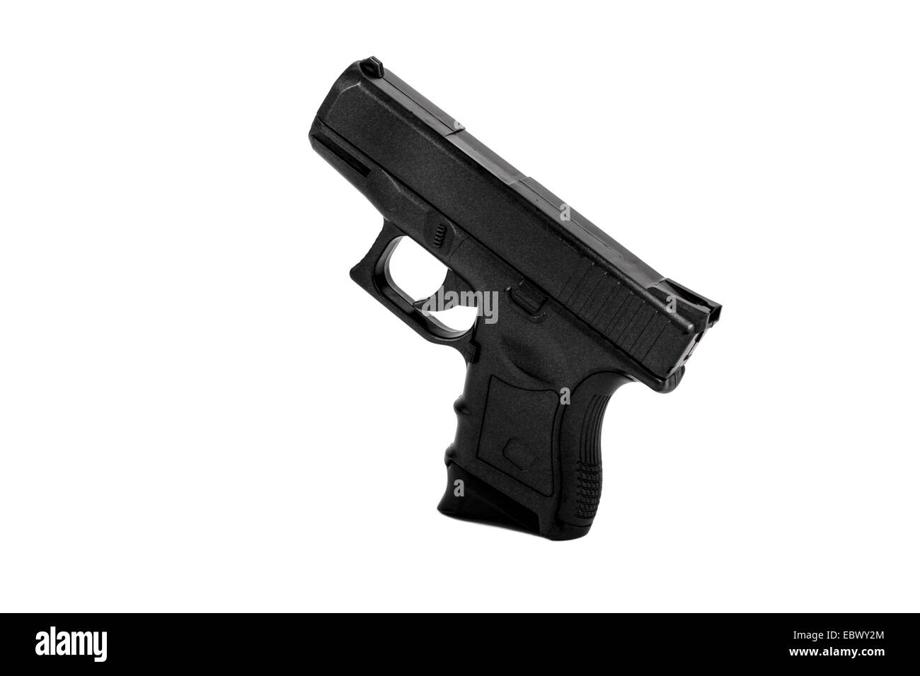 A semi-automatic hand gun on white background - Stock Image