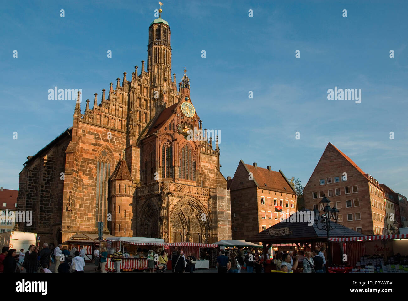 Frauenkirche, Church of Our Lady at main market in evening light, Germany, Bavaria, Franken, Franconia, Nuernberg Stock Photo