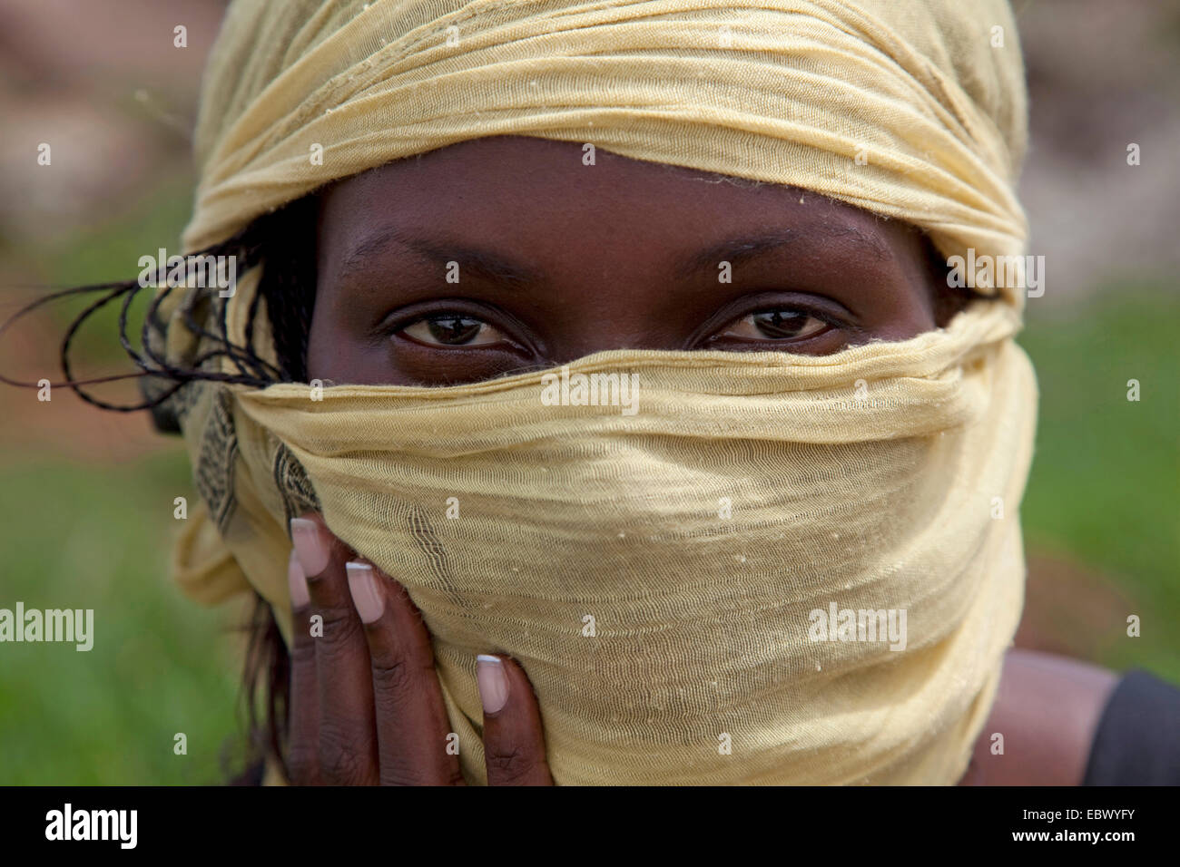 Portrait of a young woman with a headscarf, Uganda, Jinja Stock Photo
