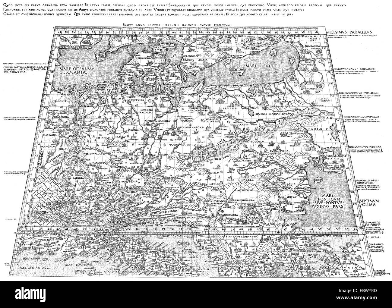 The oldest map of Germany, 1451, by Nicholas of Kues or Nicolaus Cusanus, Nicholas of Cusa, 1401 - 1464,  a German - Stock Image