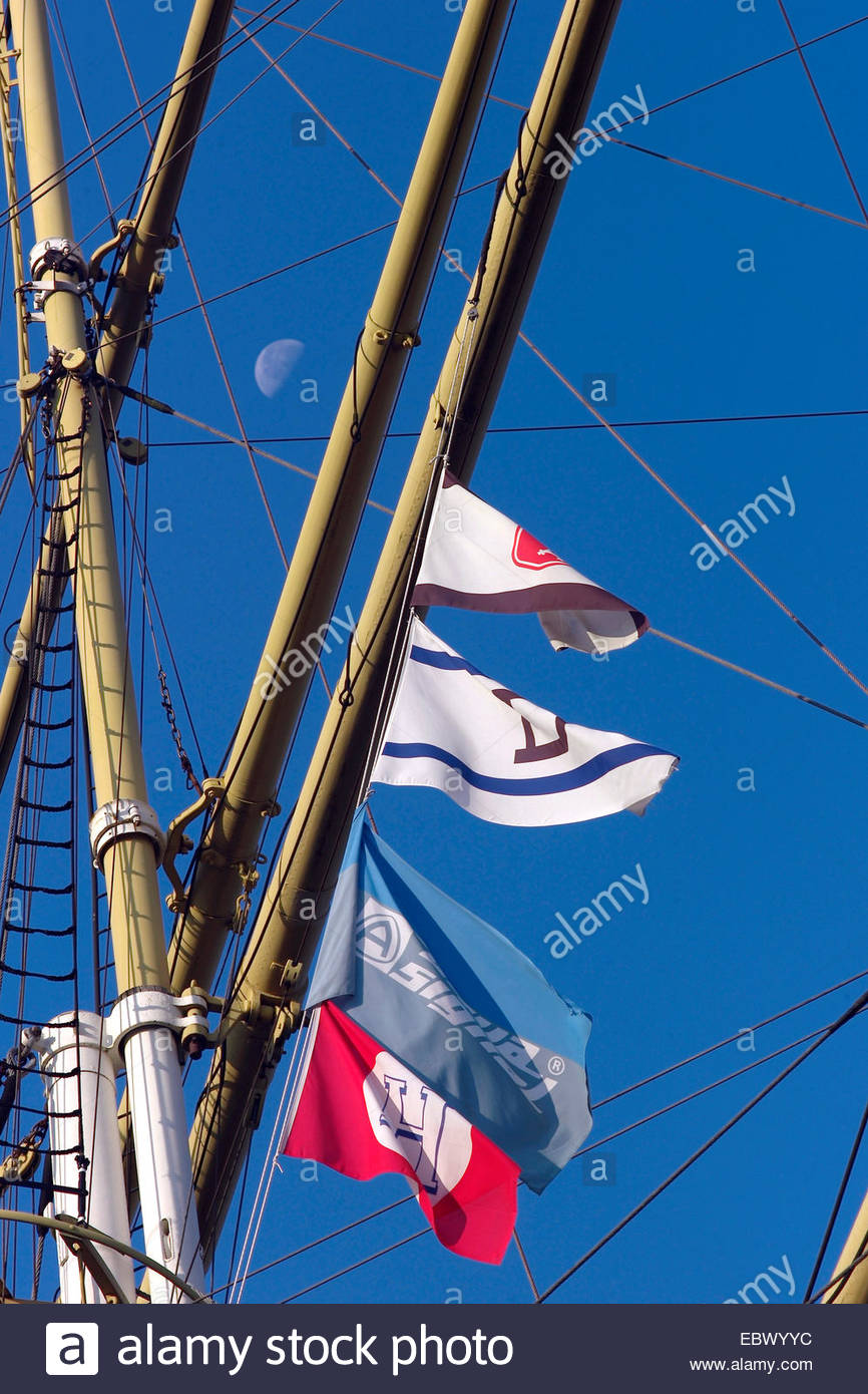 mast and spreader of Schulschiff Deutschland, school ship Germany, with moon at the sky, Germany, Bremen - Stock Image