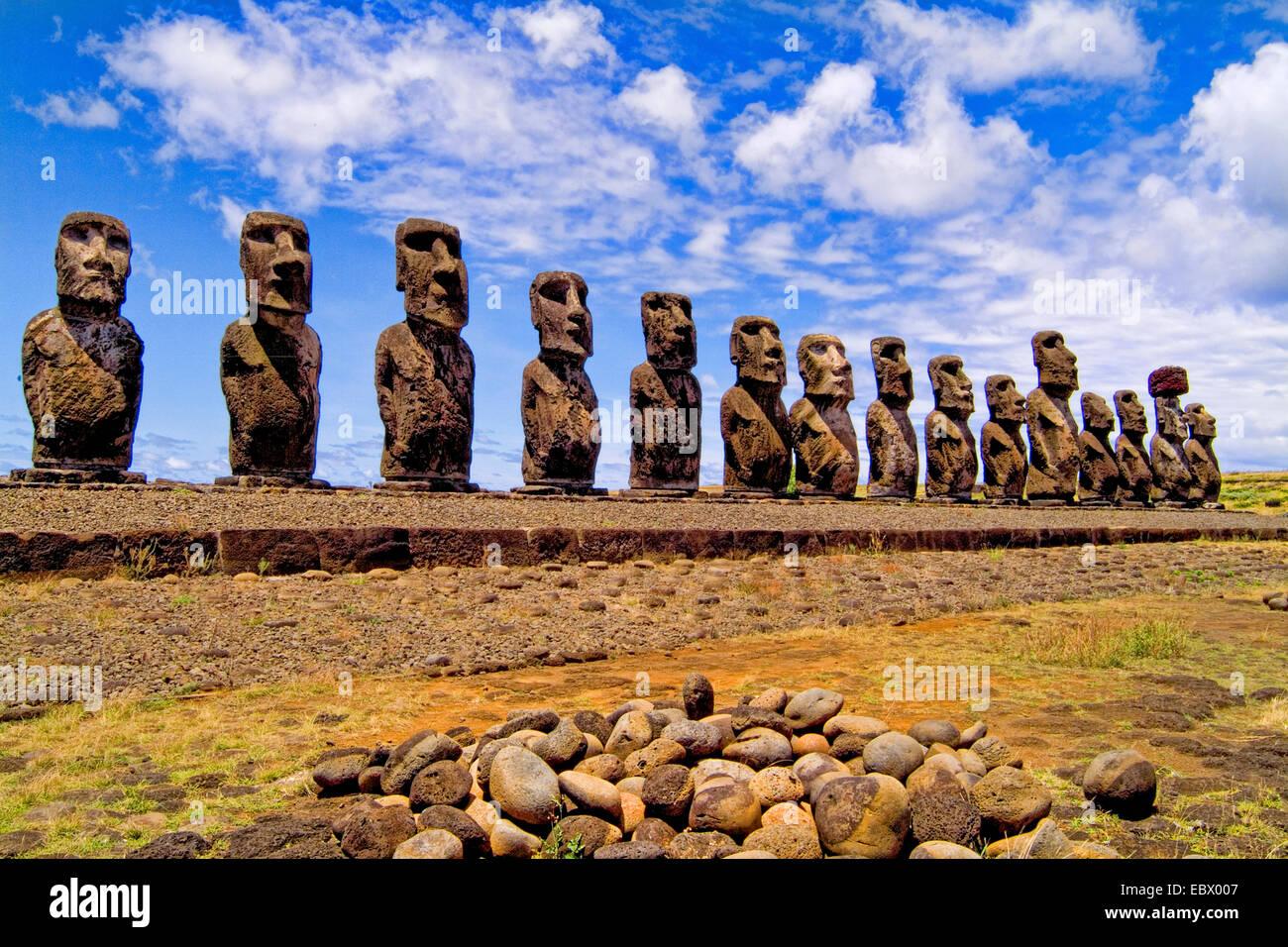 Moai Statues at Ahu Nau Nau Platform in Easter Island , Chile, Easter Island - Stock Image