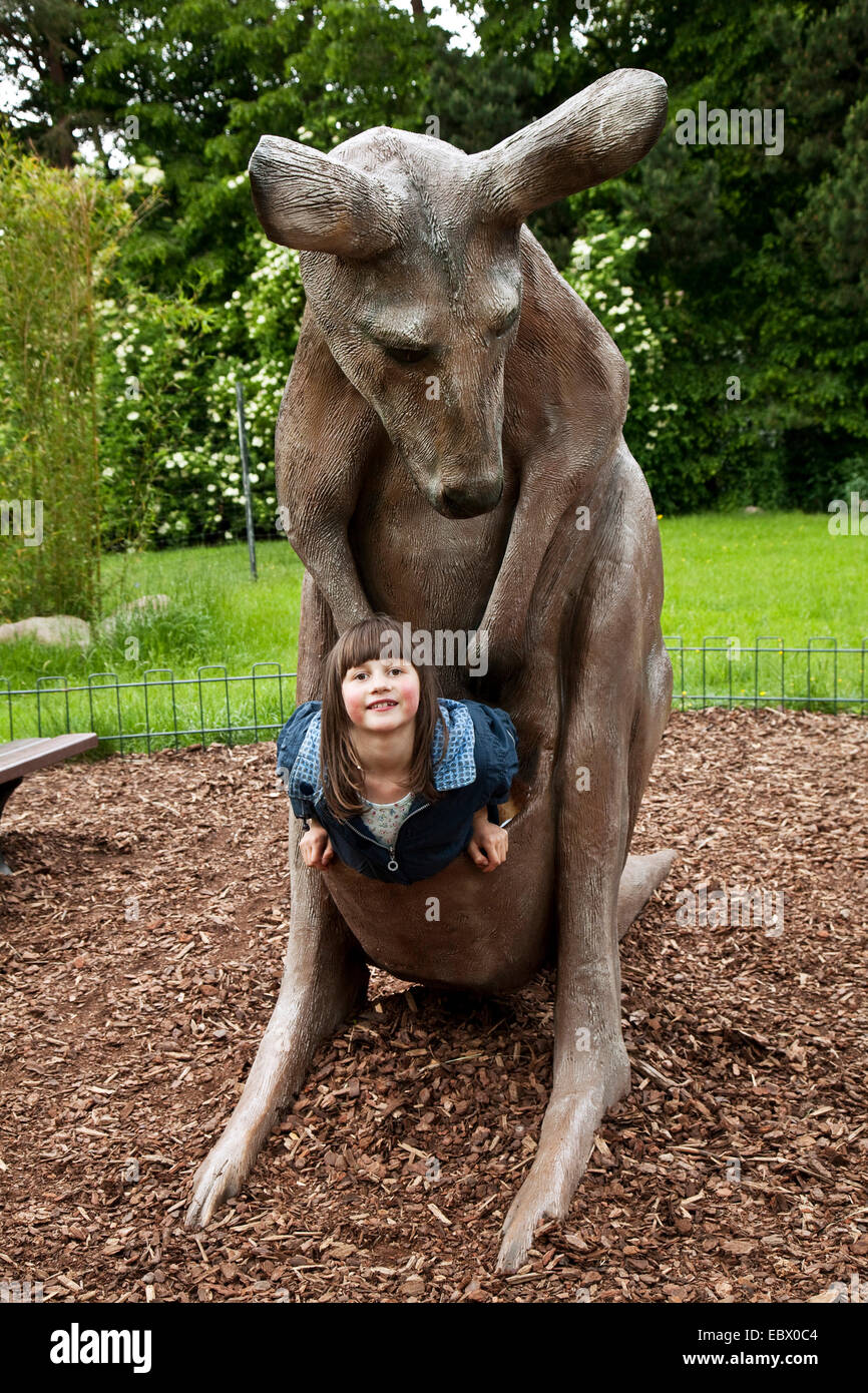 Child In The Pouch Of An Kangaroo A Zoo DEU Deutschland BRD