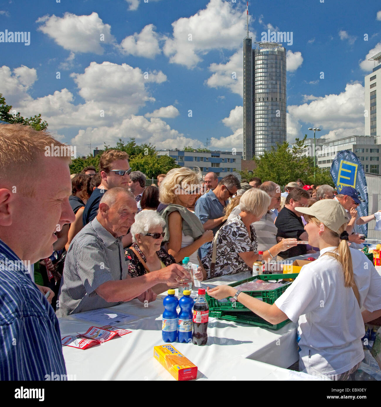 booth at the event 'Still-Leben Ruhrschnellweg' on highway A 40, Germany, North Rhine-Westphalia, Ruhr Area, - Stock Image