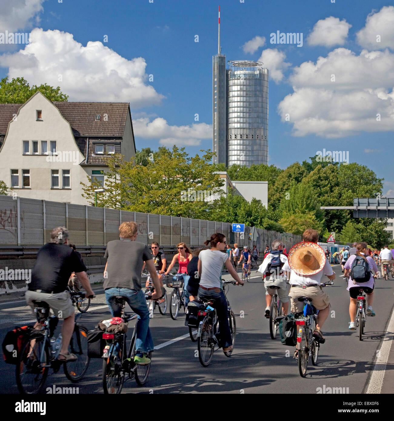 bikers on the event 'Still-Leben Ruhrschnellweg' on highway A 40, Germany, North Rhine-Westphalia, Ruhr - Stock Image
