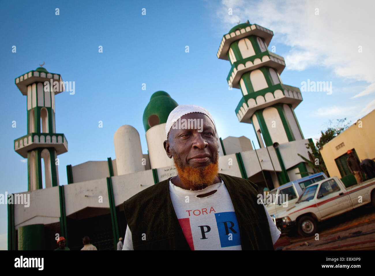 biggest Mosque of Nyamirambo, an area of Kigali where a larger number of Muslims live, muslim man with coloured - Stock Image