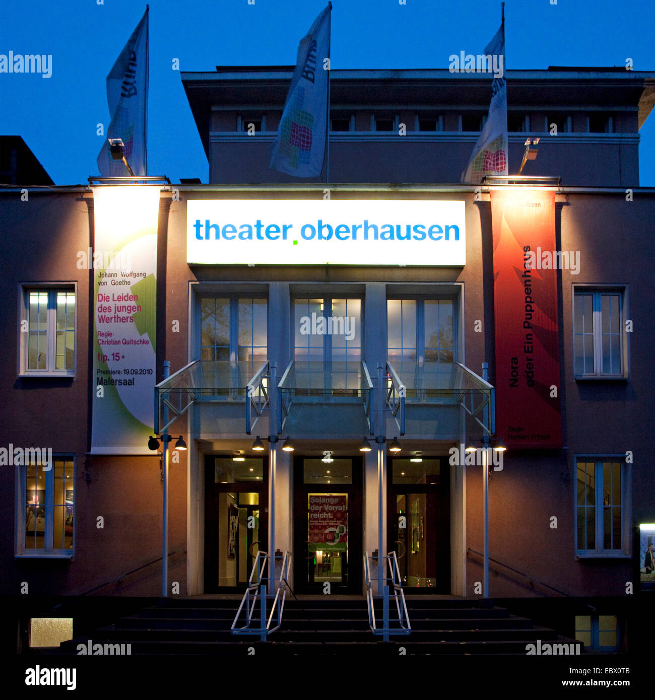 Theater Oberhausen in twilight, Germany, North Rhine-Westphalia, Ruhr Area, Oberhausen Stock Photo