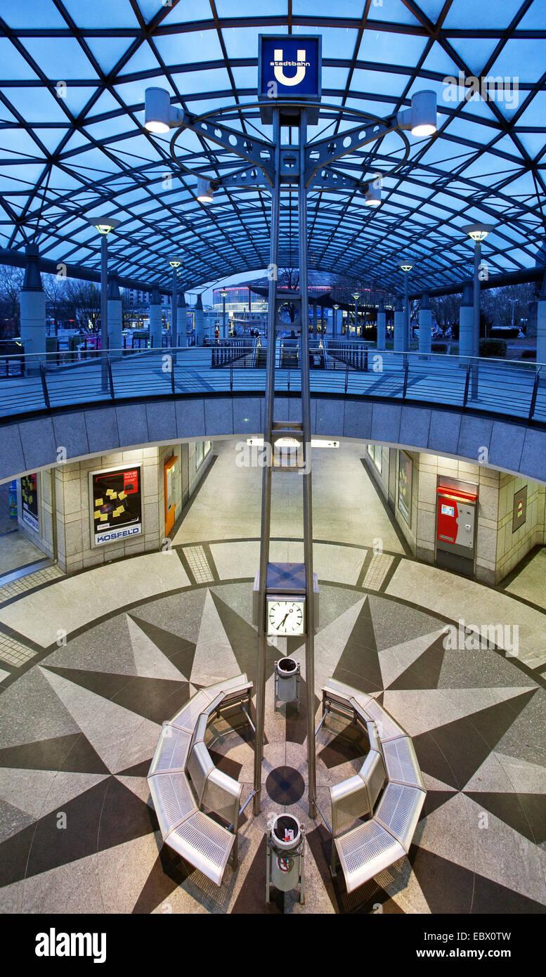 underground station of 'Westfalenhallen' at blue hour, Germany, North Rhine-Westphalia, Ruhr Area, Dortmund - Stock Image
